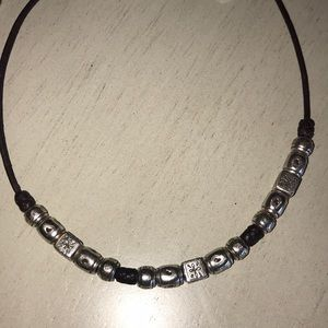 BRIGHTON leather silver bead necklace GORGEOUS